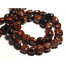 10pc - Perles de Pierre - Obsidienne Marron Acajou Mahogany Nuggets 6-10mm - 8741140015852