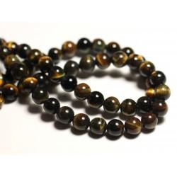 10pc - Perles de Pierre - Oeil de Tigre et Faucon Boules 6mm - 8741140015869