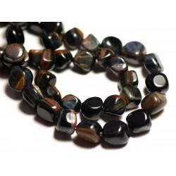 10pc - Perles de Pierre - Oeil de Tigre Fer et Faucon Nuggets 6-10mm - 8741140015876