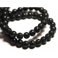 10pc - Perles de Pierre - Onyx Noir Mat Sablé Givré Boules 8mm Zig Zag Brillants - 8741140015890
