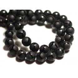 10pc - Perles de Pierre - Onyx Noir Mat Sablé Givré Boules 8mm Ballons Brillants - 8741140015890