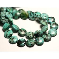 2pc - Perles de Pierre - Turquoise Afrique naturelle Palets 12mm - 8741140016002