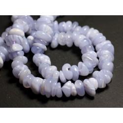 10pc - Perles Pierre Calcédoine Bleue Chips rondelles Palets 8-15mm - 8741140016187