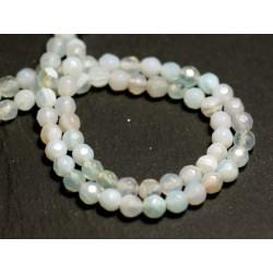 20pc - Perles de Pierre - Agate Boules facettées 4mm blanc bleu clair turquoise - 8741140015517