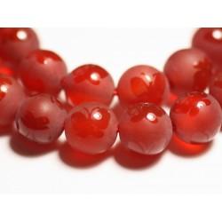 10pc - Perles de Pierre - Agate Rouge mat givré Papillon brillant Boules 8mm - 8741140015524