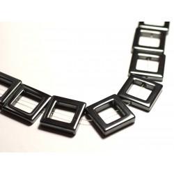 4pc - Perles de Pierre - Hématite Carrés pourtours cadres 25mm - 8741140015609