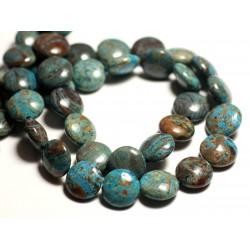 4pc - Perles de Pierre - Jaspe Paysage Automne Bleu Turquoise Palets 12mm - 8741140015661