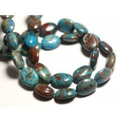 2pc - Perles de Pierre - Jaspe Paysage Automne Bleu Turquoise Ovales 16x12mm - 8741140015678