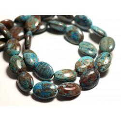 2pc - Perles de Pierre - Jaspe Paysage Automne Bleu Turquoise Ovales 18x13mm - 8741140015685