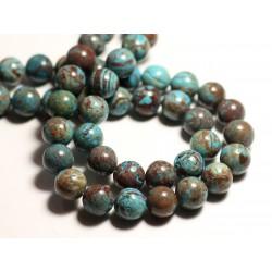 5pc - Perles de Pierre - Jaspe Paysage Automne Bleu Turquoise Boules 10mm - 8741140015654