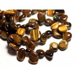 10pc - Perles de Pierre - Oeil de Tigre Chips Rocailles 8-14mm - 8741140016293