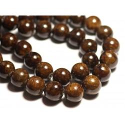 4pc - Perles de Pierre - Jade Boules 14mm Marron Jaune Ocre - 8741140016149