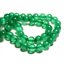 10pc - Perles de Pierre - Jade Boules 8mm Vert Emeraude - 8741140016163