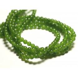40pc - Perles de Pierre - Jade Boules 4mm Vert Olive - 8741140016026
