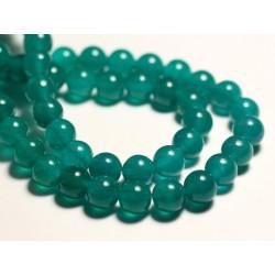 10pc - Perles de Pierre - Jade Boules 8mm Bleu Vert Paon Canard - 8741140016064