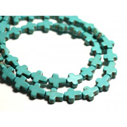 20pc - Perles Pierre Turquoise Synthèse reconstituée Croix 10x8mm Bleu Turquoise - 8741140015210