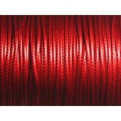 5 mètres - Cordon coton ciré enduit 1.5mm Rouge vif brillant - 8741140014893