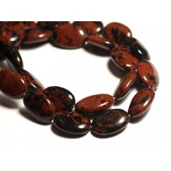 2pc - Perles de Pierre - Obsidienne Acajou Mahogany Marron Ovales 18x13mm - 8741140015043