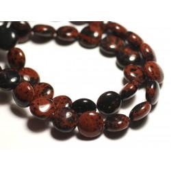 6pc - Perles de Pierre - Obsidienne Acajou Mahogany Marron Palets 10mm - 8741140015050