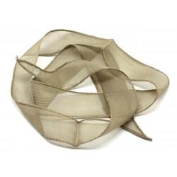 Collier Ruban Soie teint à la main 130 x 2cm Beige Marron Brun Taupe (ref SOIE116) - 8741140014978