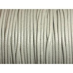 5 mètres - Cordon coton ciré enduit Rond 1.5mm Gris clair Perle - 8741140014862