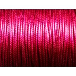 5 mètres - Cordon coton ciré enduit Rond 1.5mm Rose Fuchsia Magenta - 8741140014909