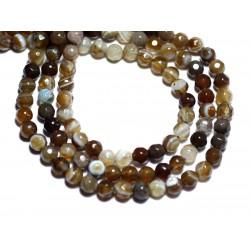 20pc - Perles de Pierre - Agate Boules Facettées 4mm blanc marron taupe - 8741140007574