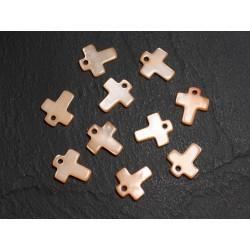 10pc - Perles Breloques Pendentifs Nacre Croix 12mm Orange - 4558550012227