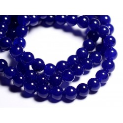 10pc - Perles de Pierre - Jade Boules 8mm Bleu Nuit - 4558550093080