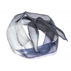 Collier Ruban Soie teint à la main 85 x 2.5cm Bleu Marine Gris Noir SOIE183 - 8741140003354