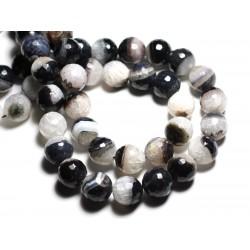 2pc - Perles de Pierre - Agate Quartz Boules Facettées 14mm Blanc Noir - 4558550081742