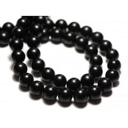20pc - Perles de Pierre - Onyx Noir Mat sablé givré Boules 6mm - 8741140014770