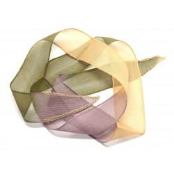 Collier Ruban Soie teint à la main 85 x 2.5cm Violet Mauve Jaune Vert (ref SOIE158) 4558550002815