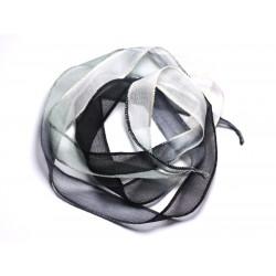 Collier Ruban Soie teint à la main 130x1.8cm Blanc Gris Noir (SOIE104) - 8741140003057