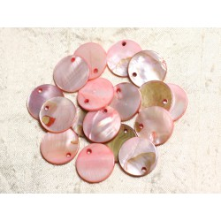 10pc - Perles Breloques Pendentifs Nacre Ronds 20mm Rose Corail Pêche Saumon - 4558550039903