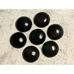 1pc - Cabochon de Pierre - Obsidienne noire et arc en ciel Rond 20mm 4558550007421