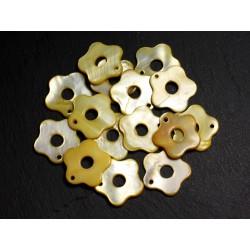 10pc - Perles Breloques Pendentifs Nacre Fleurs 19mm Jaune - 4558550012425