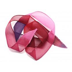 1pc - Collier Ruban Soie teint à la main 85 x 2.5cm Violet Rose Rouge Bordeaux (ref SOIE143) 4558550002938