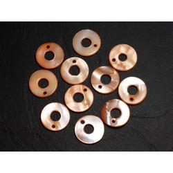 10pc - Perles Breloques Pendentifs Nacre Cercles 15mm Orange 4558550014788