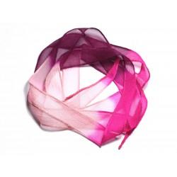 Collier Ruban Soie teint à la main 130x1.8cm Rose clair Fuchsia Violet Magenta (SOIE152) - 8741140003101