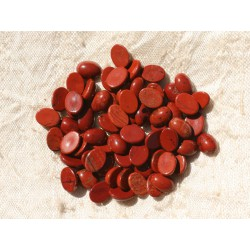 2pc - Cabochons de Pierre - Jaspe Rouge Ovale 8x6mm - 4558550016843