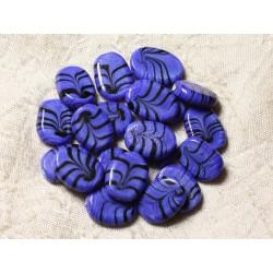 6pc - Perles en Verre Ovales 18x13mm Bleu Roi - 4558550005120