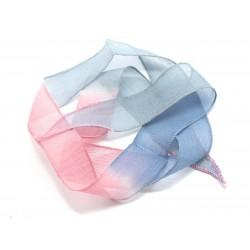 1pc - Collier Ruban Soie teint à la main 85 x 2.5cm Gris Bleu Rose (ref SOIE139) 4558550003027