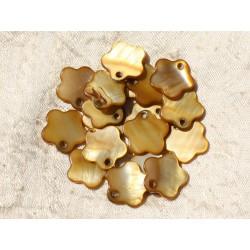 10pc - Perles Breloques Pendentifs Nacre Fleurs 15mm Bronze Doré - 4558550005458