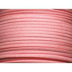 5 mètres - Cordon Lanière Suédine 3x1.5mm Rose Pêche 4558550004772