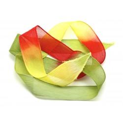 1pc - Collier Ruban Soie teint à la main 85 x 2.5cm Jaune Vert Olive Rouge (ref SOIE167) 4558550001733