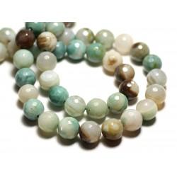 4pc - Perles de Pierre - Agate blanc vert turquoise beige Boules facettées 10mm - 8741140014428