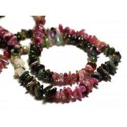 30pc - Perles de Pierre - Tourmaline Multicolore Rocailles Chips 4-10mm - 8741140014534