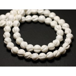 5pc - Perles Nacre blanche naturelle Boules gravées spirales swirl 8mm - 8741140014466