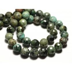 6pc - Perles de Pierre - Turquoise Afrique naturelle Boules facettées 8mm - 8741140014510